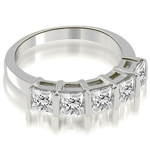 0.85 cttw. 14K White Gold Bar Set Princess Cut Diamond Wedding Band