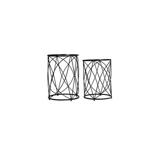 Neenah Metal Mirrored Nesting Table Set