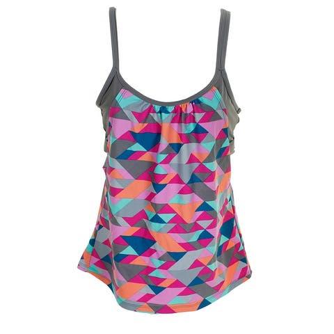 Go By Gossip Pink Grey Triangle Tango Printed Layered Tankini Top XL