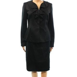 Kasper NEW Black Women's Size 8 Ruffled Front Sateen Skirt Suit