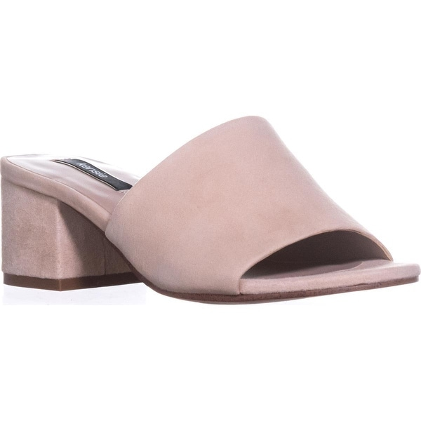 Kensie Helina Block-Heel Peep Toe Sandals, Blush