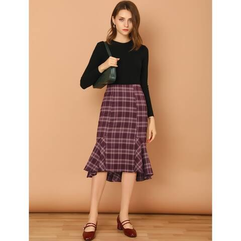 Allegra K Women's Plaid Fishtail High Waist Zipper Midi Skirt - Red