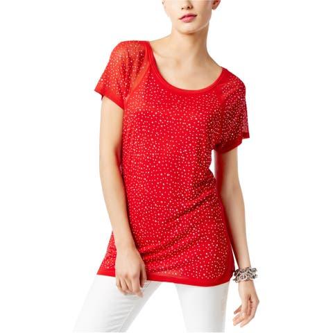 I-N-C Womens Embellished Basic T-Shirt, Red, X-Small
