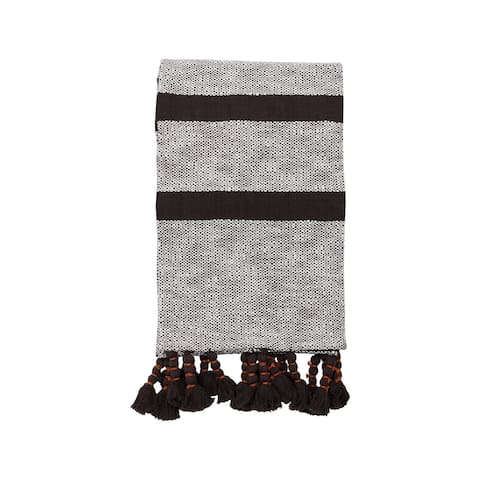 Foreside Home & Garden Black Hand Woven 50 x 60 inch Cotton Throw Blanket with Hand Tied Roped Tassels