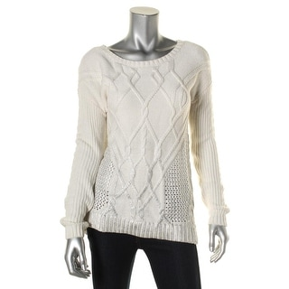 Ella Moss Womens Crewneck Sweater Cashmere Blend Cable Knit - xs