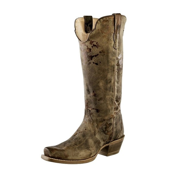 Outlaw Western Boots Womens Square Toe Leather Painted Distress