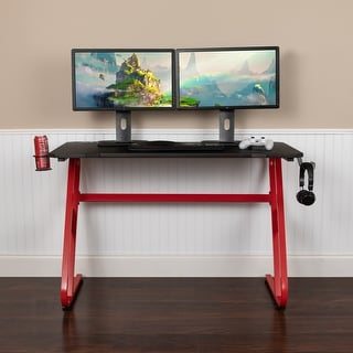 Link to Red Professional Gaming Ergonomic Desk with Cup Holder and Headphone Hook Similar Items in Desks & Computer Tables