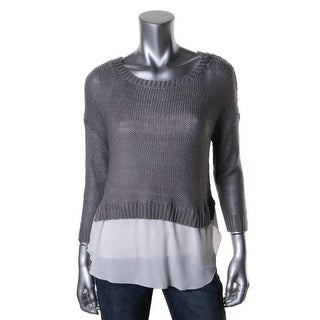 RD Style Womens Crochet Hi-Low Pullover Sweater