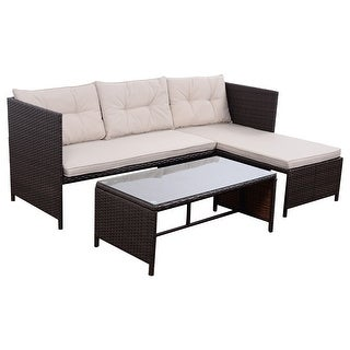 Beautiful Costway Pcs Outdoor Rattan Furniture Sofa Set Lounge Chaise  Cushioned Patio Garden New With Lounge Dinner Set With Balkonmbel Rattan Set
