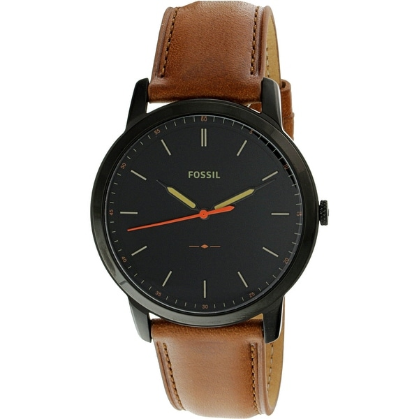 fbfc8a068 Shop Fossil Men's Minimalist Black Leather Japanese Quartz Fashion Watch - Free  Shipping Today - Overstock - 19850019