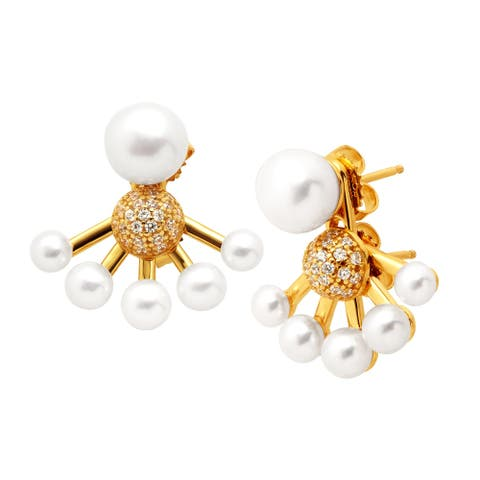 Honora Convertible Freshwater Button Pearl Jacket Earrings with Swarovski Zirconia in 18K Gold-Plated Sterling Silver