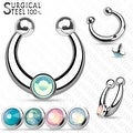 316L Surgical Steel Fake Septum Hanger with 4 Interchangable Opalite Threaded Tops (Sold Ind.) - Thumbnail 0