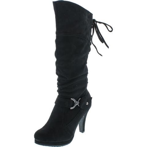 Top Moda Page-65 Women's Knee Lace-Up High Heel Boots