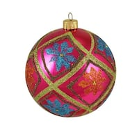 "Flower Power Pink Glitter Floral Shatterproof Christmas Ball Ornament 4"" (100mm)"