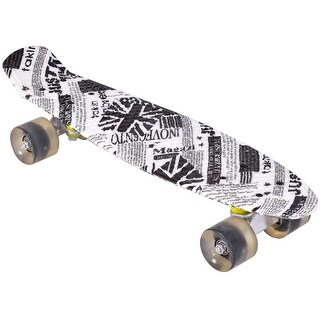 Gymax Kids Youths Beginners Complete 22'' Cruiser Skateboard Bendable Deck PU Casters - as pic