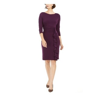 Link to JESSICA HOWARD Purple Long Sleeve Knee Length Sheath Dress  Size 14 Similar Items in Dresses