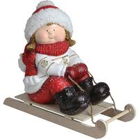 "16"" Christmas Morning Girl on a Sled Red and White Christmas Tabletop Figure"