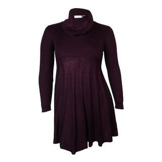 Calvin Klein Women's Ribbed Knit Cowl Sweater Dress (L, Aubergine) - L