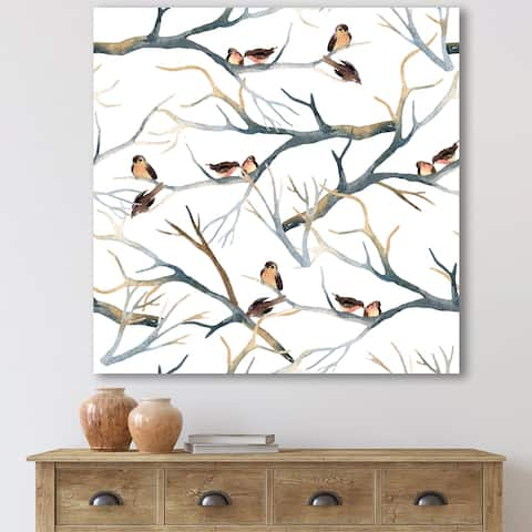 Designart 'Little Birds On The Tree Branches I' Traditional Canvas Wall Art Print