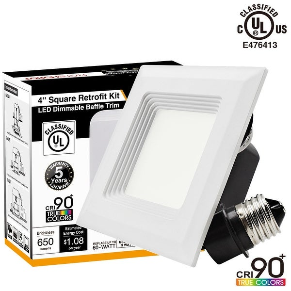 High CRI 90+ 4 inch Dimmable Retrofit LED Square Recessed Lighting Fixture, UL-classified, 9W (60W Equivalent), 2700K/5000K