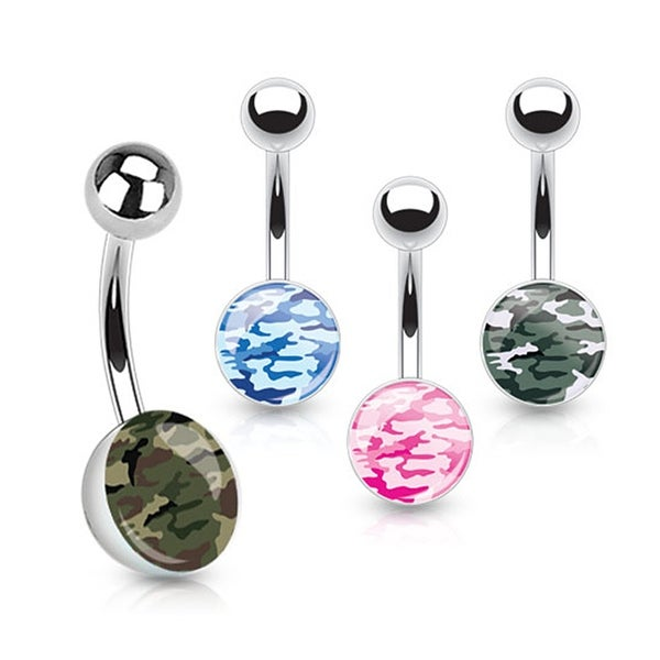 Camouflage Print Inlaid 316L Surgical Steel Navel Belly Button Ring