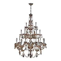 """Worldwide Lighting W83099C38-AM Provence 21 Light 3 Tier 38"""" Chrome Chandelier with Gold Crystals"""