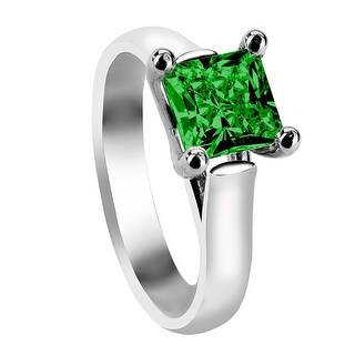 CHERYL Four Prong Solitaire Engagement Ring with Princess Cut Green Emerald Setting (Option: 6.5)