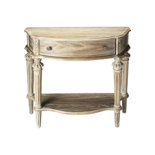 Traditional Crafted Demilune Solid Wood Console Table in Driftwood Finish - Gray