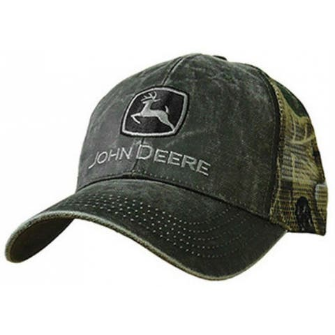 John Deere 13080332CH00 Mesh Back 6 Panel Cap, One Size, Charcoal & Camouflage