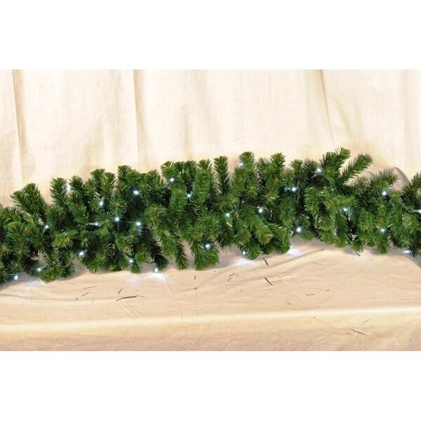 Christmas at Winterland WL-GARSQ-09-LPW 9 Foot Pre-Lit Pure White LED Sequoia Garland - Pure White - N/A