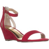 TS35 Areyana Ankle-Strap Wedge Sandals, Red
