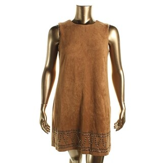 Spense Womens Petites Mini Dress Faux Suede Boho - 10P