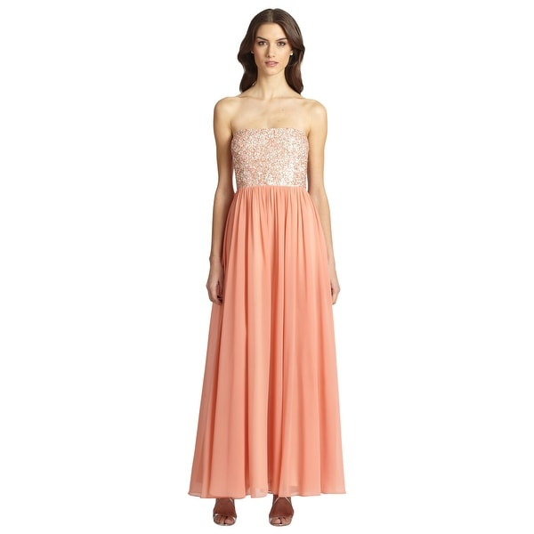 c830d30d8618 Aidan Mattox Shimmering Embellished Chiffon Strapless Eve Gown Dress Coral  Blush