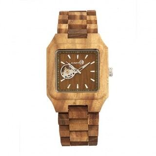 Earth Wood Black Rock Men's Automatic Watch, Wood Band, Luminous Hands
