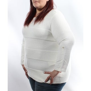 Womens Ivory Striped 3/4 Sleeve Jewel Neck Sweater Size 2X
