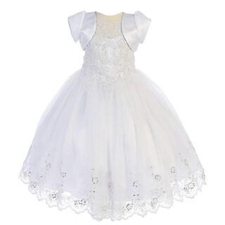Angels Garment Little Girls White Sequin Bead Detail Flower Girl Dress 2-6