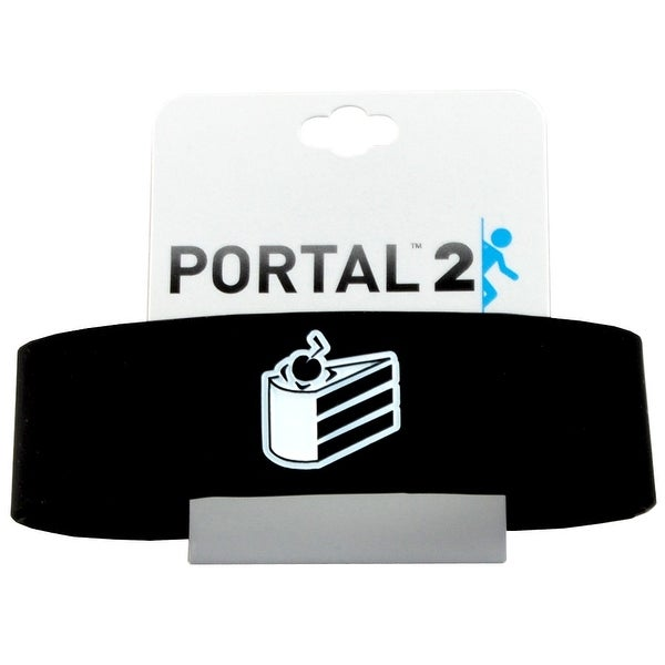 Portal Cake Is A Lie Black Silicone Bracelet - White