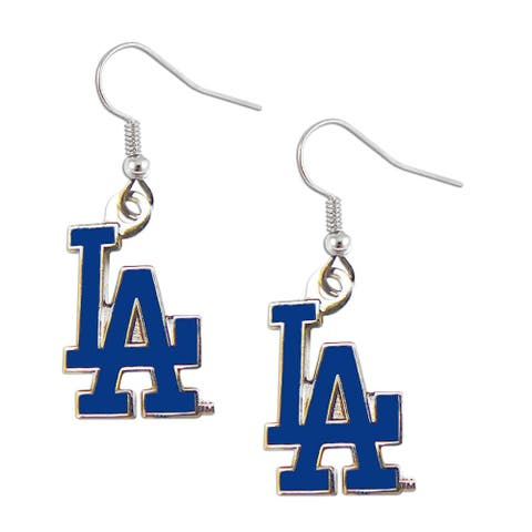 LOS Angeles Dodgers Dangle Logo Earring Set MLB Charm Gift - 5/8 inchto 3/4 inch charms