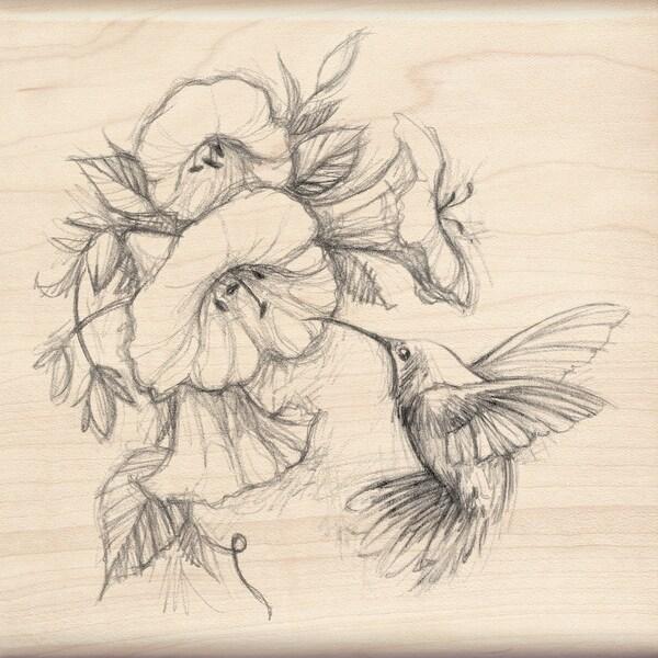 "Inkadinkado Mounted Rubber Stamp 4.5""X4.5""-Hummingbird W/Flowers"