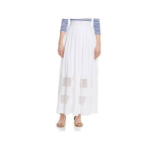 Three Dots Womens Trellis Maxi Skirt Lace Inset A-Line