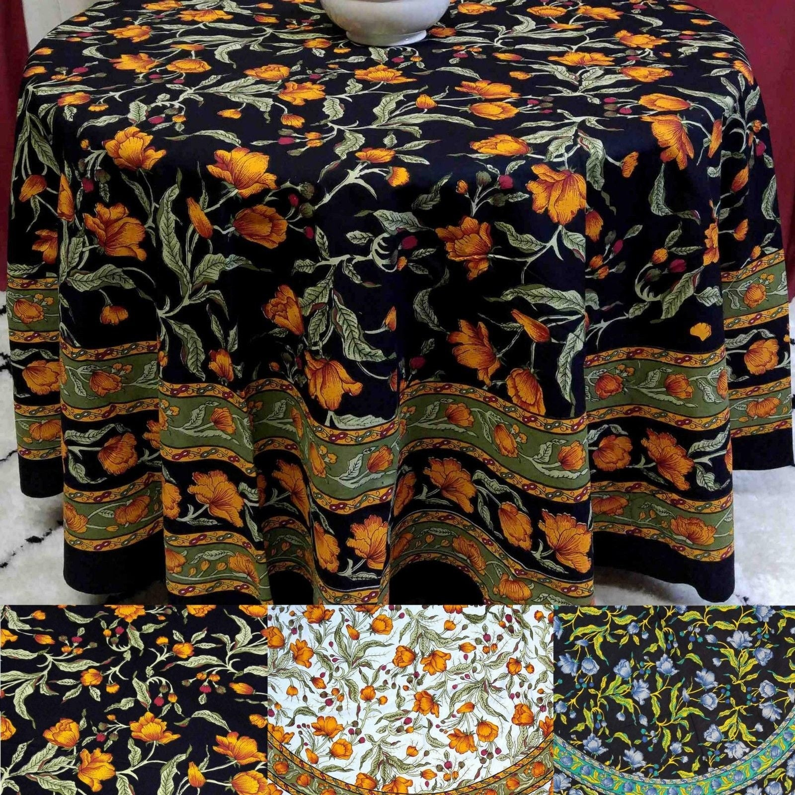 Beautiful Handmade 100% Cotton French Floral Print Tablecloth 60 inches & 72 Inch & 90 Inch Round - Thumbnail 0