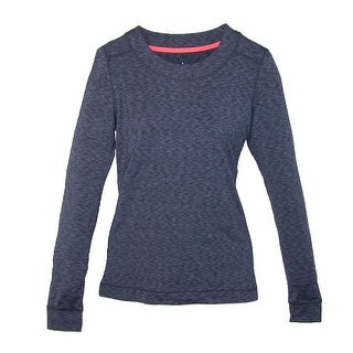 Cuddl Duds Women's Long Sleeve Flex Fit Crew Thumb Hole - navy space dye