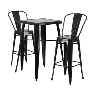 Offex Black Metal Indoor-Outdoor Bar Table Set With 2 Barstools