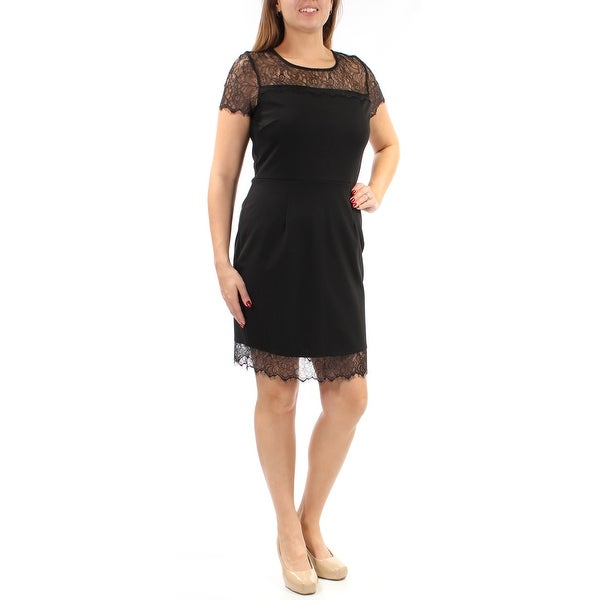 BAR III Womens Black Lace Short Sleeve Illusion Neckline Above The Knee Sheath Cocktail Dress Size: M