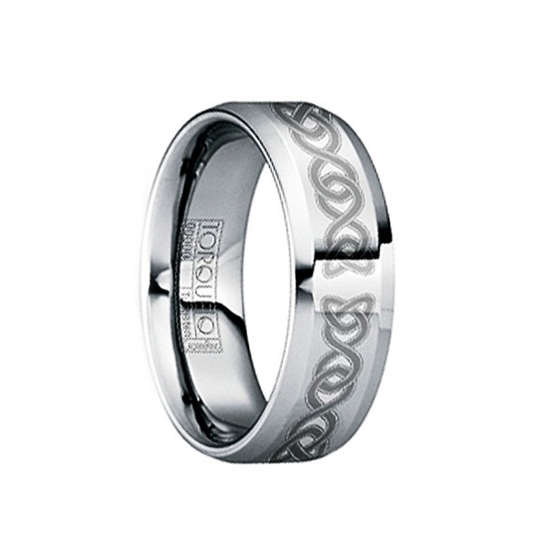 MAXIMIANUS Brushed & Engraved Celtic Knot Tungsten Ring with Raised Center by Crown Ring - 6mm