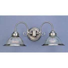 """Volume Lighting V4702 2 Light 21"""" Width Bathroom Vanity Light with Clear Ribbed Glass Dome Shade"""