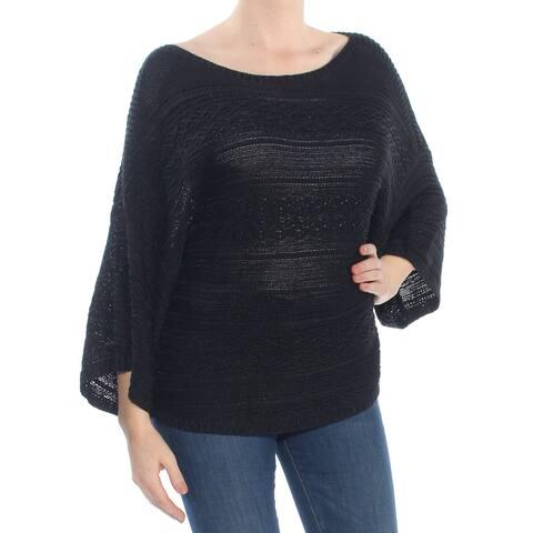 RALPH LAUREN Womens Black Open Knit Short Sleeve Boat Neck Sweater Size: M