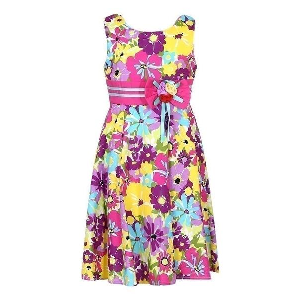 f23ebbd15184f Richie House Girls Purple Yellow Floral Print Sweet Cotton Dress