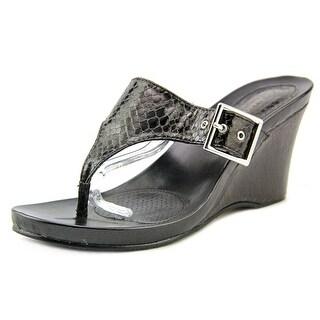 Style & Co Chicklet Women Open Toe Canvas Black Platform Sandal