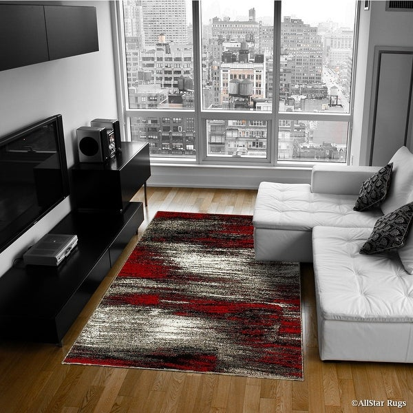 """Red AllStar Modern. Contemporary Woven Area Rug. Drop-Stitch Weave Technique. Carved Effect. Vivid Pop Colors (5' x 6' 11"""")"""